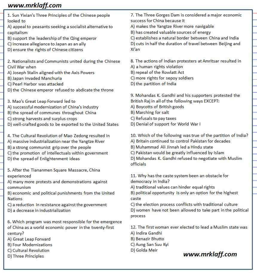 Gandhi Multiple Choice Mao Zedong Multiple Choice Ap World History Practice